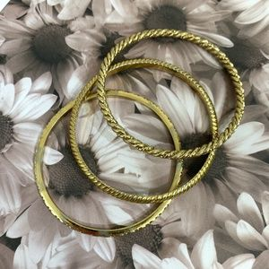 J. Crew Gold Rope Bangle Three Bracelet Set {GD}